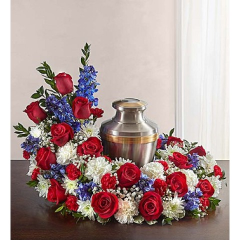 Cremation Wreath Red White&Blue
