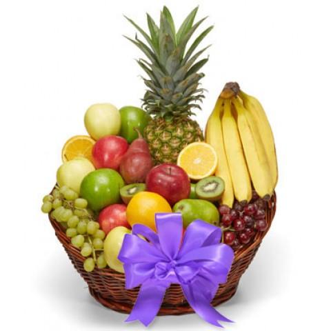 Premium Fruit Basket with Purple Bow