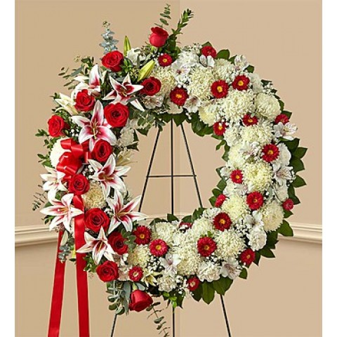 Red Rose and Lily Wreath
