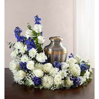 Cremation Wreath Blue&White