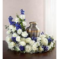 Cremation Wreath Blue&White
